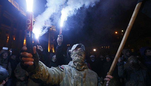 Митинг сторонников блокады Донбасса на Майдане Незалежности в центре Киева