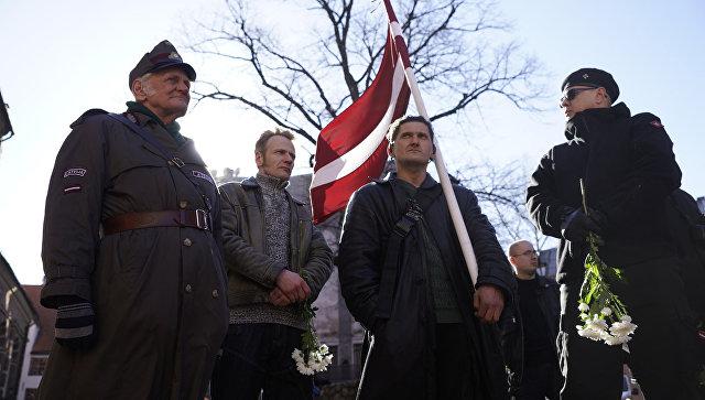 ВРиге проходит марш латышских ветеранов ВаффенСС