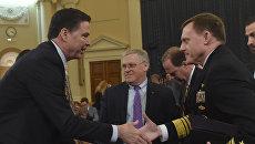 Директор ФБР Джеймс Коми и директор АНБ Майкл Роджерс на слушаниях о предположительном вмешательстве России в президентские выборы США в Вашингтоне. 20 марта 2017 года