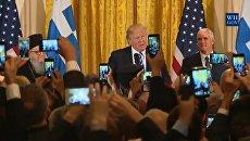 Скриншот видео выступления Трампа на мероприятии в честь Дня независимости Греции