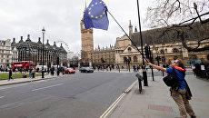 Противник выхода Великобритании из ЕС на улице Лондона. Архивное фото