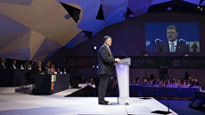 Президент Украины Петр Порошенко выступает на съезде Европейской народной партии на Мальте. 30 марта 2017