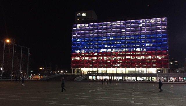 Взнак солидарности мэрию Тель-Авива раскрасили вцвета русского триколора