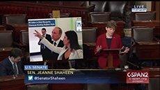 Сенатор от штата Нью-Гемпшир Джин Шахин выступает на слушаниях в сенате США