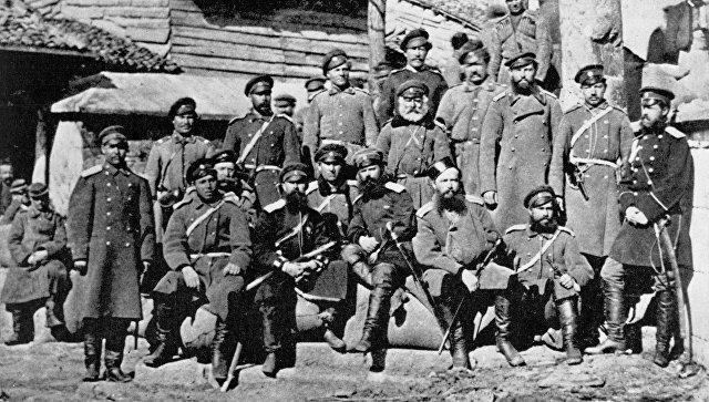 Казаки 23-го полка - участники русско-турецкой войны 1877 - 1878 г. г.. Болгария