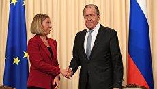Сергей Лавров и Федерика Могерини во время совместной пресс-конференции. 24 апреля 2017