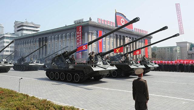 Военный парад в Пхеньяне. Архивное фото.
