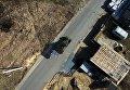 Мастер Максим Свекла едет на БМ-13 Катюша по дороге в поселке Большой Оеш Новосибирской области
