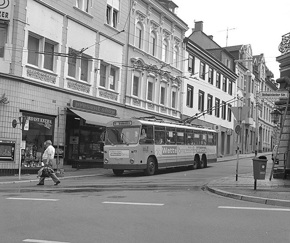 Троллейбус Solingen в городе Вупперталь-Вохвинкель. Германия, 1986 год