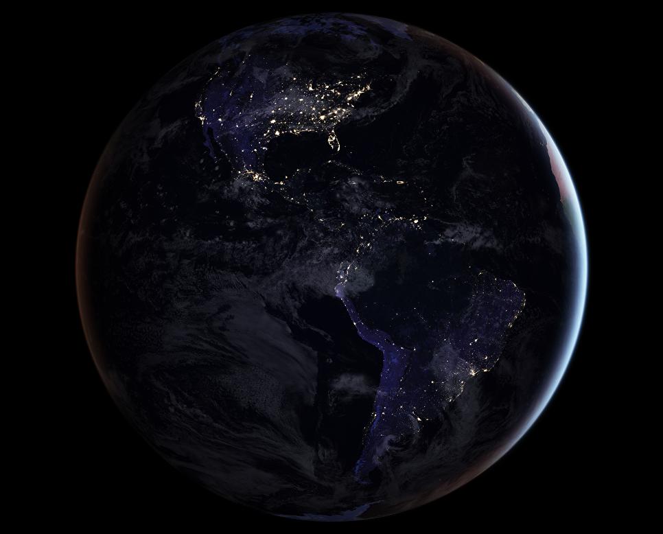 Ночная карта полушария Земли