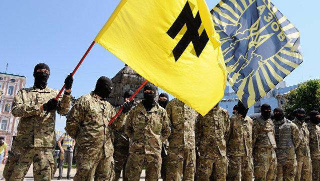 Бойцы батальона Азов в 2014 году в Киеве