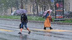 Пешеходы переходят дорогу в Москве во время снегопада. 8 мая 2017
