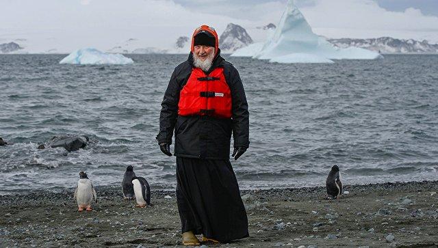 Патриарх Московский и всея Руси Кирилл во время визита на российскую полярную станцию Беллинсгаузен на острове Ватерлоо в Антарктиде