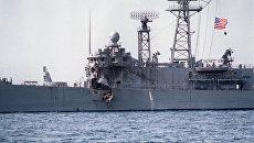 Американский фрегат USS Stark, атакованный иракским самолетом Mirage F4. 17 мая 1987