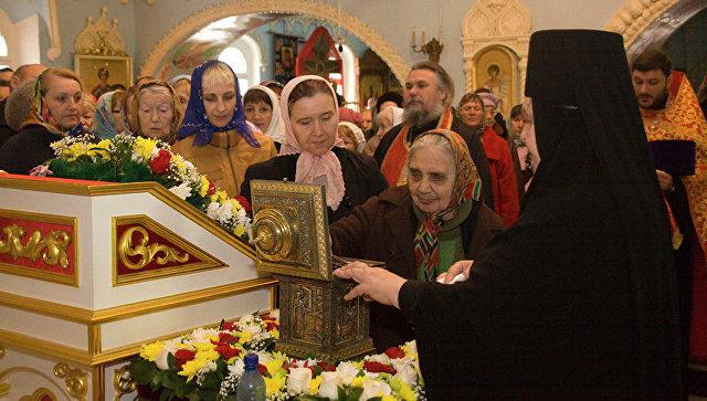 Мощи святителя Николая Чудотворца в Красноярске. Архивное фото