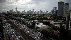 Вид на город Манила, Филиппины. Архивное фото