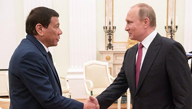 Президент РФ Владимир Путин и президент Филиппин Родриго Дутерте во время встречи