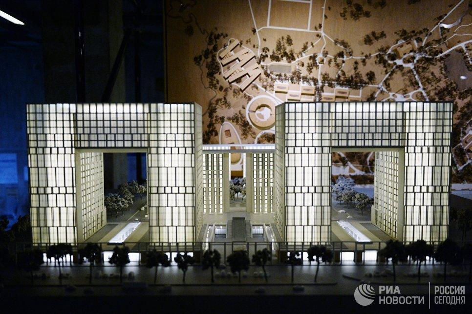 Макет жилого комплекса на 22-й Международной выставке архитектуры и дизайна АРХ Москва NEXT! в Центральном доме художника в Москве