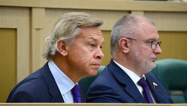 Алексей Пушков на заседании Совета Федерации РФ. Архивное фото