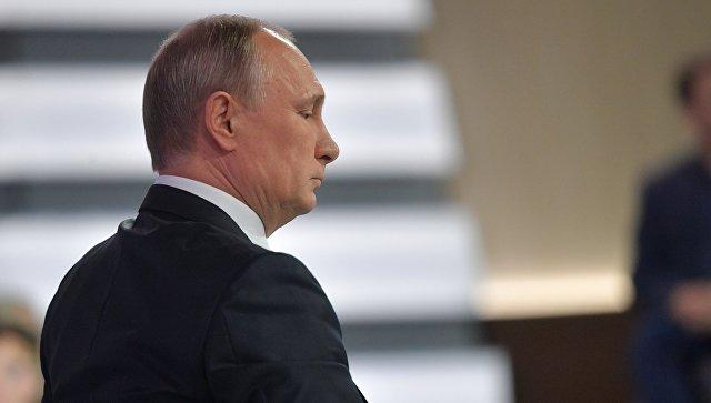 Президент РФ Владимир Путин во время ежегодной Прямой линии. 15 июня 2017