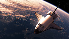 Космический корабль в космосе. Трехмерная сцена