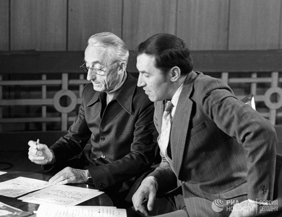 Французский исследователь Жак Ив Кусто и телеведущий Николай Дроздов в передаче В мире животных