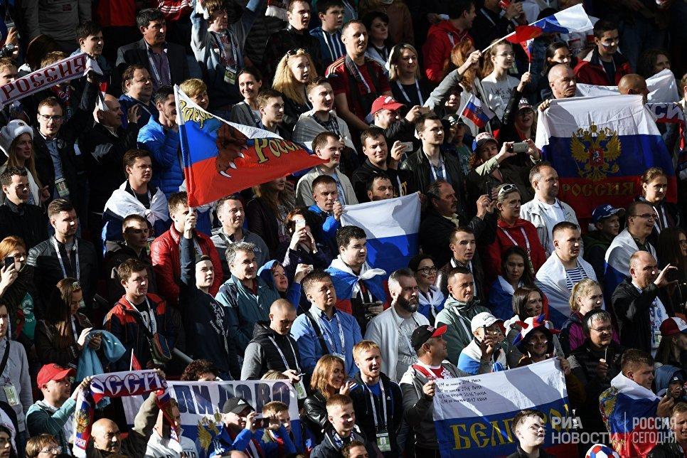 Болельщики сборной России перед началом матча Кубка конфедераций-2017 по футболу между сборными России и Португалии