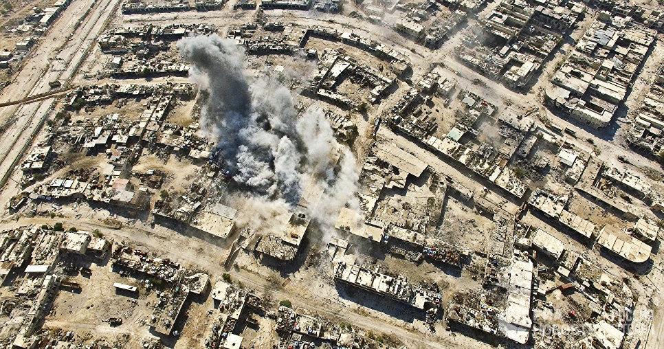 Нанесение авиаударов по террористам в квартале Рамусе на юго-западе Алеппо. Сирия, 15.08.2016