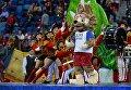 Официальный талисман чемпионата мира по футболу 2018 и Кубка конфедераций FIFA 2017 волк Забивака во время церемонии закрытия Кубка конфедераций-2017 в Санкт-Петербурге
