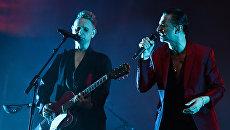 Участники британской группы Depeche Mode Дэйв Гaан и Мартин Гор. Архивное фото