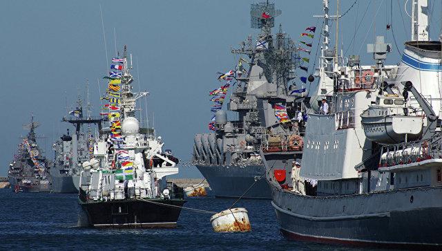 Репетиция парада кораблей к Дню ВМФ РФ и Дню флота Украины