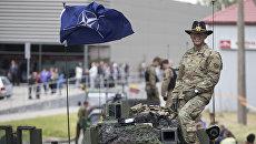 Военнослужащий армии США во время совместных учений войск НАТО в Купишкисе. Архивное фото
