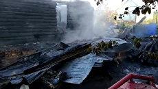 Кадры с места пожара в Башкирии, в котором погибла семья из девяти человек