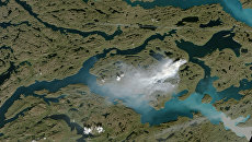 Фотография пожаров в Гренландии, полученная зондами НАСА