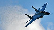 Многоцелевой истребитель МиГ-35 во время демонстрационных полетов на открытии Международного авиационно-космического салона МАКС-2017 в подмосковном Жуковском