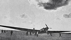 Самолет АНТ-25, на котором советские летчики Валерий Чкалов, Георгий Байдуков и Александр Беляков совершили перелет из Москвы в Северную Америку через Северный полюс