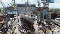 Третий фрегат для индийских ВМС Trikand (Лук) на торжественной церемонии спуска на воду на Прибалтийском судостроительном заводе Янтарь. Архивное фото