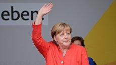 Канцлер Германии Ангела Меркель на встрече с избирателями в Мюнстере. 22 августа 2017