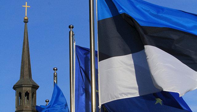 Флаги Эстонии и ЕС в Таллине