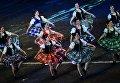 Участницы Международной команды исполнителей шотландских танцев на торжественной церемонии закрытия X Международного военно-музыкального фестиваля Спасская башня в Москве