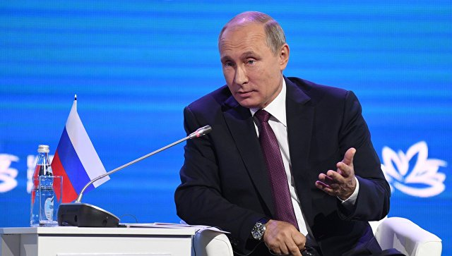 Президент РФ Владимир Путин на пленарном заседании III Восточного экономического форума во Владивостоке. 7 сентября 2017