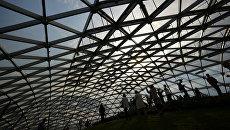 Посетители в Стеклянной коре в природно-ландшафтном парке Зарядье в Москве. 11 сентября 2017