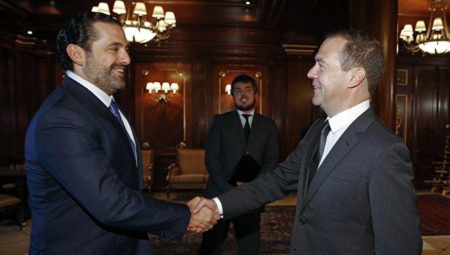 Председатель правительства РФ Дмитрий Медведев и председатель Совета министров Ливана Саад Харири во время встречи. 12 сентября 2017