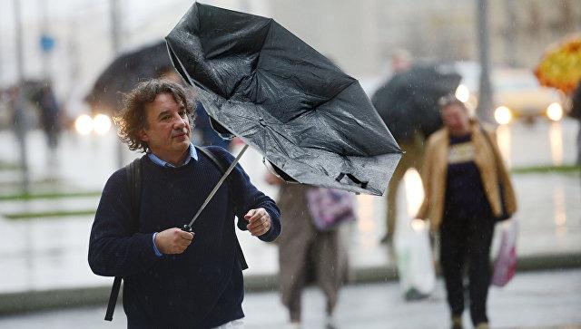 Прохожие на Смоленской площади во время дождя в Москве. Архивное фото
