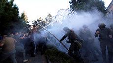 Столкновения с полицией возле Ильичевского райсуда после вынесения оправдательного приговора по делу о событиях 2 мая 2014 года в Одессе. 18 сентября 2017