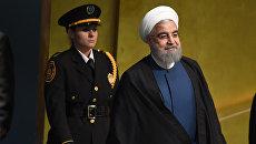 Президент Ирана Хасан Роухани на 72 Генеральной Ассамблее ООН в Нью-Йорке. 20 сентября 2017