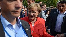 Канцлер Германии Ангела Меркель на встрече с избирателями в Мюнстере