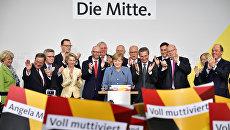 Федеральный канцлер Германии Ангела Меркель произносит речь после объявления предварительных результатов выборов. 24 сентября 2017