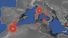 Карта Средиземного моря 6-5 миллионов лет назад и вызванные им вспышки вулканизма в Африке и Европе