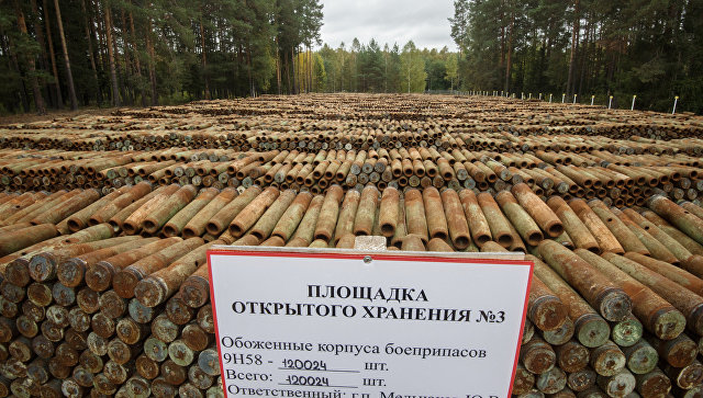 Площадка открытого хранения обожженных боеприпасов с отравляющими веществами для последующей утилизации на объекте Кизнер в Удмуртии. 27 сентября 2017